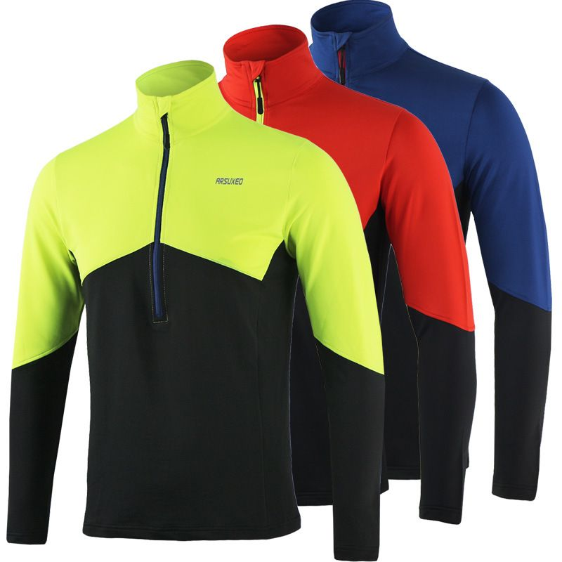 ARSUXEO Dry Fit Running Shirt Men Cycling Jersey Long Sleeve T Shirt Soccer Gym Fitness Training Bike Bicycle MTB Sweat Jerseys