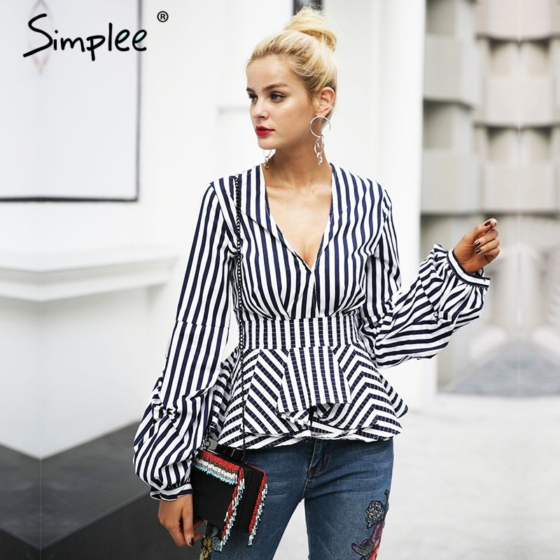 Simplee Ruffle v neck stripe blouse shirt Women tops casual streetwear white blouse Elegant cotton 2017 autumn blouse female