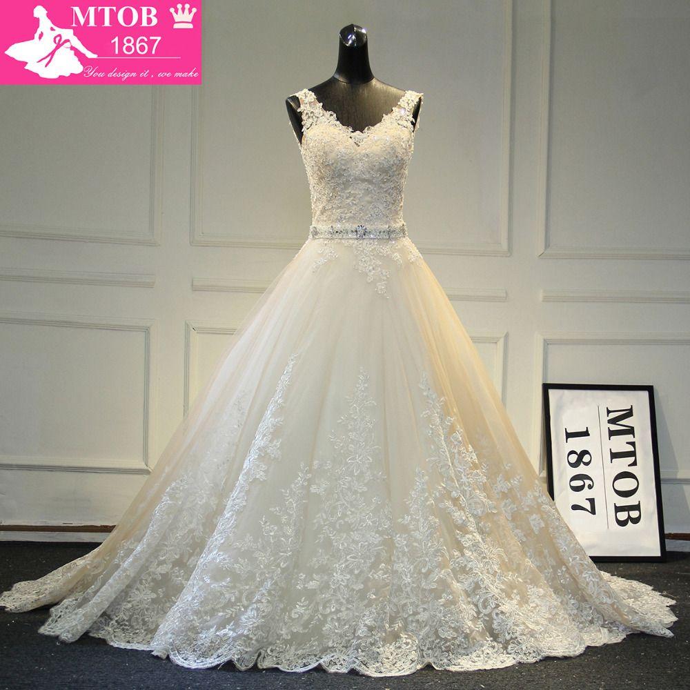 Neue Design A-linie Spitze Brautkleider 2019 V-ausschnitt Perlen Sash Backless Sexy Vintage Brautkleider China Online Shop MTOB1729