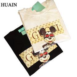 Été Tops Femmes t-shirt Impression de Dessin Animé À Manches Courtes T-shirts Casual Coréenne Style Noir Blanc Court Dames Top