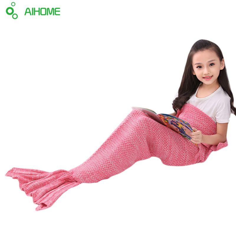 Children Yarn Knitted Mermaid Tail Blanket Handmade Crochet Mermaid Blanket Throw Bed Sofa Wrap Lovely Sleeping Bag 140*70cm