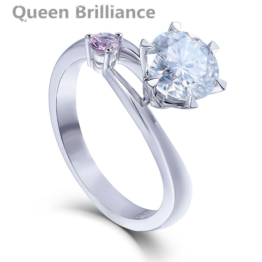 14K 585 White Gold 1.5 Carat 7.5mm F Color Round Cut Lab Grown Moissanite Diamond Engagement Ring With Pink Sapphire Accents
