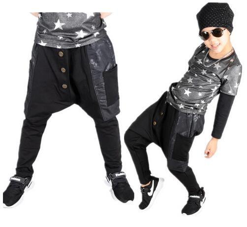 2018 D'hiver enfants Costumes garçons De Mode Pantalon de danse Noir Lâche grand entrejambe Patchwork Bouton harem Hip hop Crayon pantalon