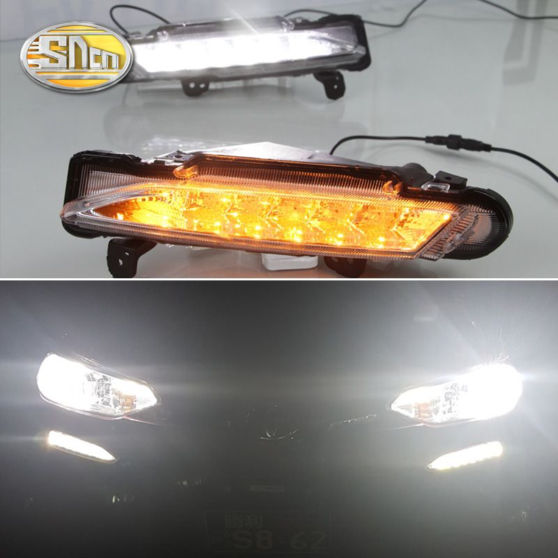 For Toyota Yaris 2017 2018,Yellow Turning Signal Relay Waterproof ABS 12V Car LED DRL LED Daytime Running Light Daylight SNCN