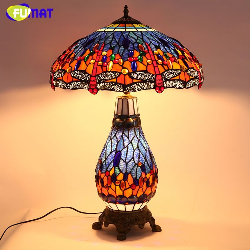 FUMAT Tiffany European Dragonfly Living Room Bedside Table Lamp Quality Stained Glass Lightings For Office Bar LED Table Lamps
