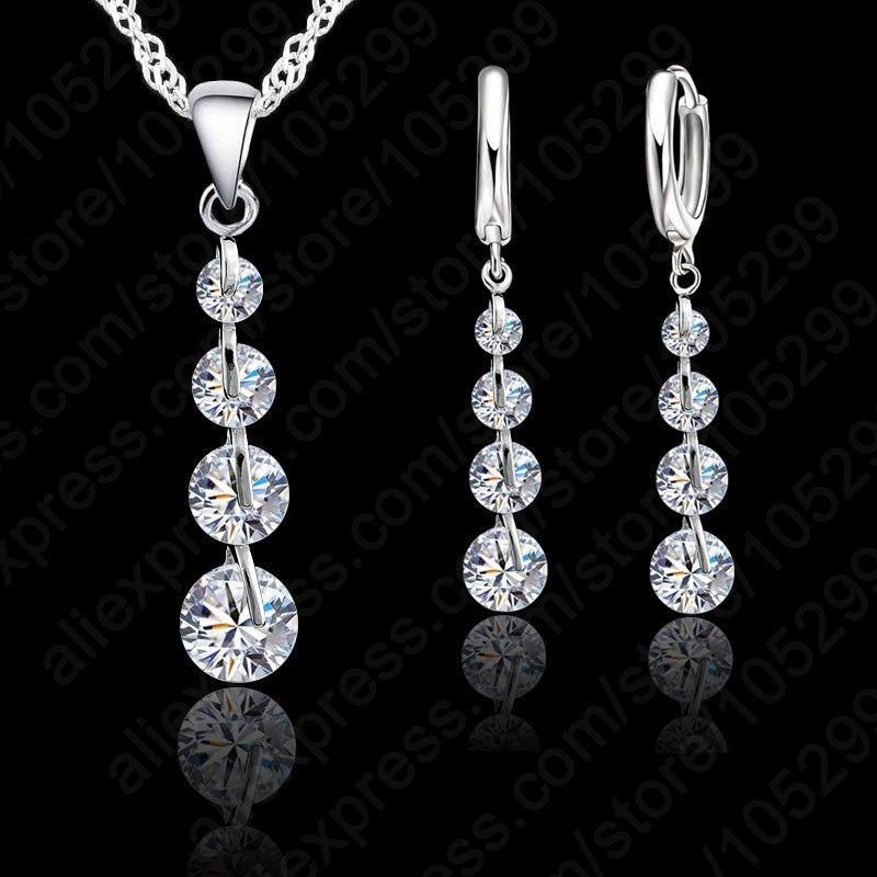 Jemmin Romantic 925 Sterling Silver Link Chain Crystal  Pendant Jewelry Set  For Women Choker Wedding  Jewelry Set