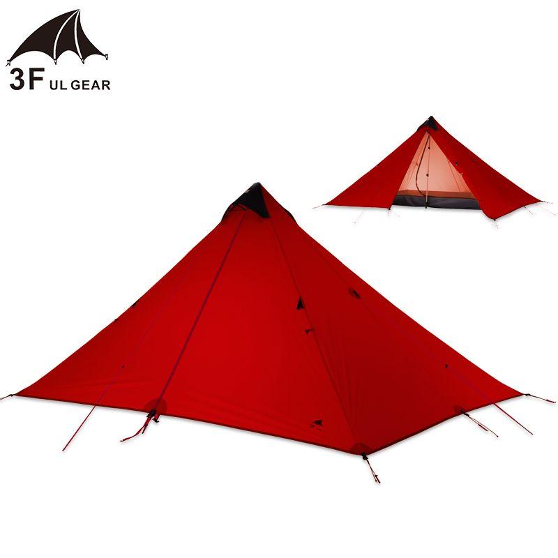 3F UL Getriebe Einzelne Person 15D Silikon Beschichtung Kolbenstangenlosen Doppel Schichten Zelt Wasserdichte Tragbare Ultraleicht Camping 3 Saison