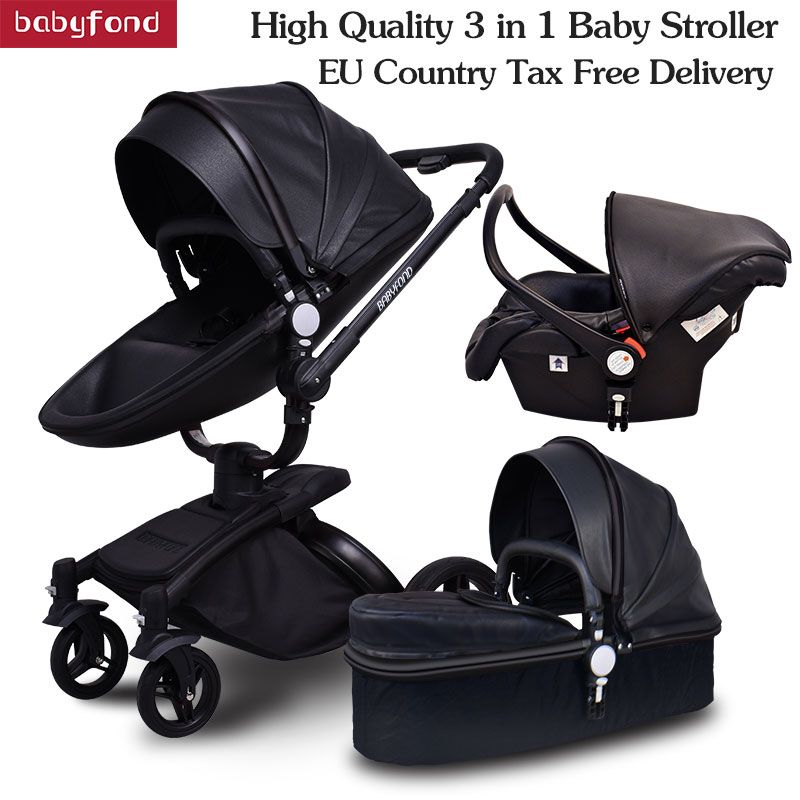 black frame babyfon Brand Top Sell Baby Strollers 360 Rotate High Quality Leather White Black Color 3 In 1 Carriage many colors