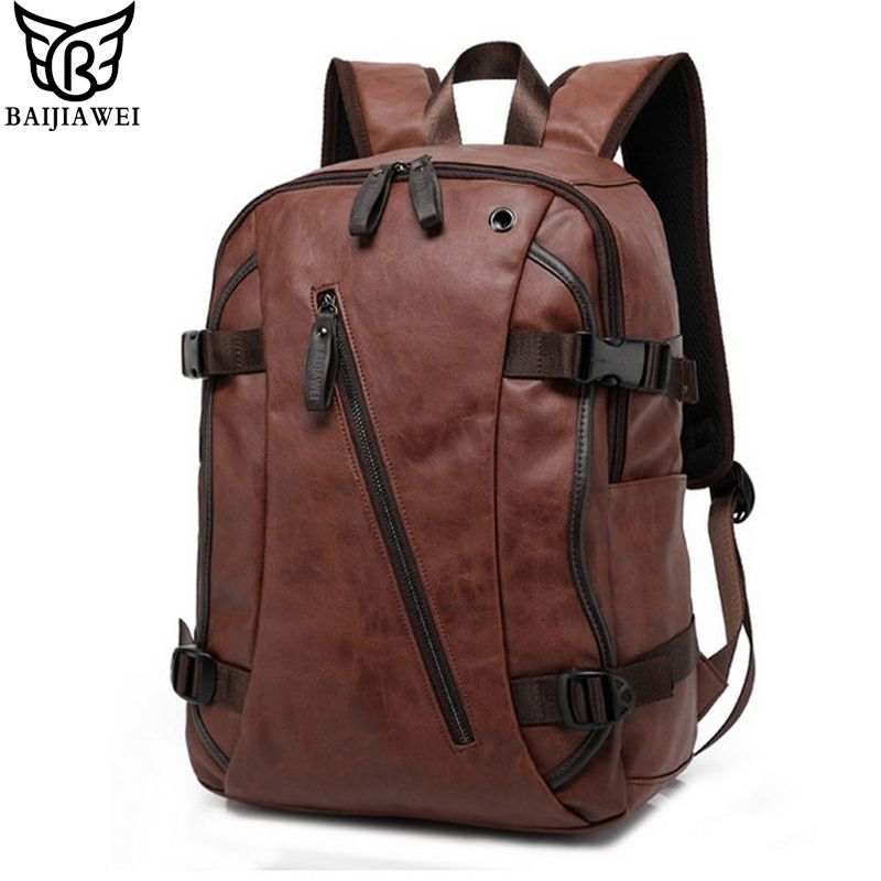 BAIJIAWEI Men PU Patent Leather Backpacks Men's Fashion Backpack & Travel Bags Western College Style Bags Mochila Feminina