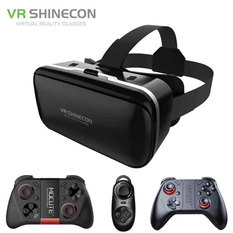 Shinecon 6.0 VR виртуальной реальности 3D Очки гарнитура шлем для 4-6 'смартфон Google cardboard VR коробка с геймпад джойстик