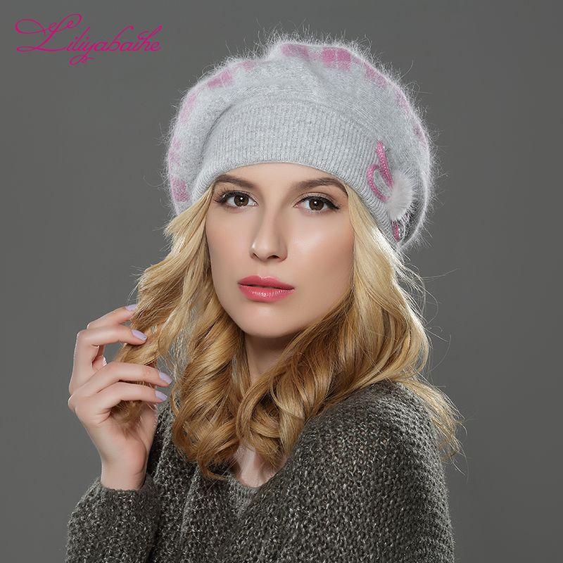 LILIYABAIHE NOUVEAU Style winteWomen chapeau de béret tricoté en laine angora béret classique grille de vison fleur décoration bouchon Double chapeau chaud