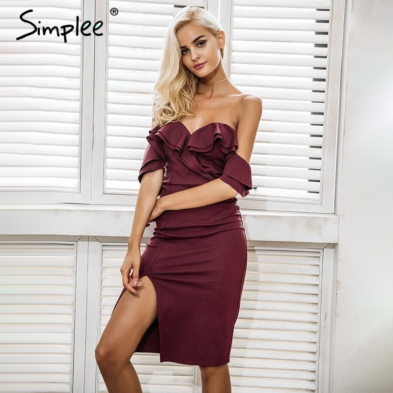 Simplee Off shoulder ruffle sexy bodycon dress women Split high waist elegant wine red christmas party dresses Autumn dress robe