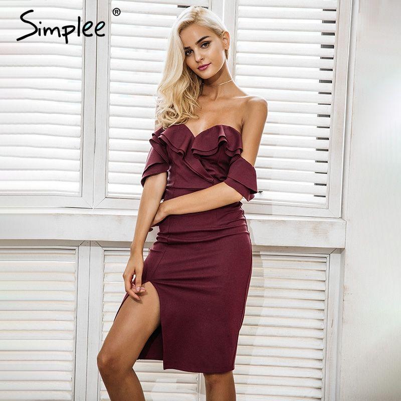 Simplee Off shoulder ruffle sexy bodycon dress women Split high waist elegant wine red christmas party dresses Autumn dress robe