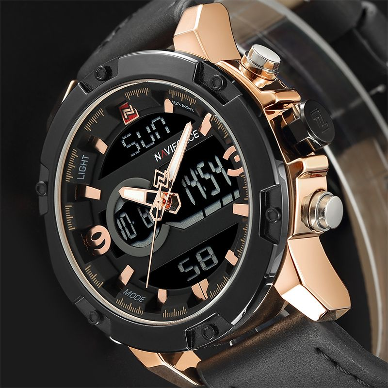 NAVIFORCE Luxury Brand Men Military Sport Watches Mens LED <font><b>Analog</b></font> Digital Watch Male Army Leather Quartz Clock Relogio Masculino