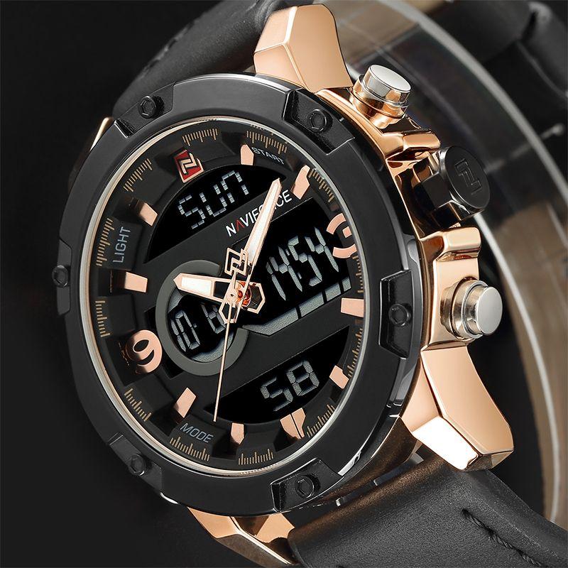 NAVIFORCE Luxusmarke Männer Military Sport Uhren Herren LED Analog Digital Uhr Männlichen Armee Leder Quarzuhr Relogio Masculino