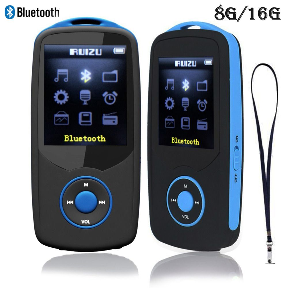 RUIZU X06 Bluetooth MP3 Player 8G/16G Sports MP3 music Player 8GB with 1.8Inch Screen 70h high quality lossless Recorder FM