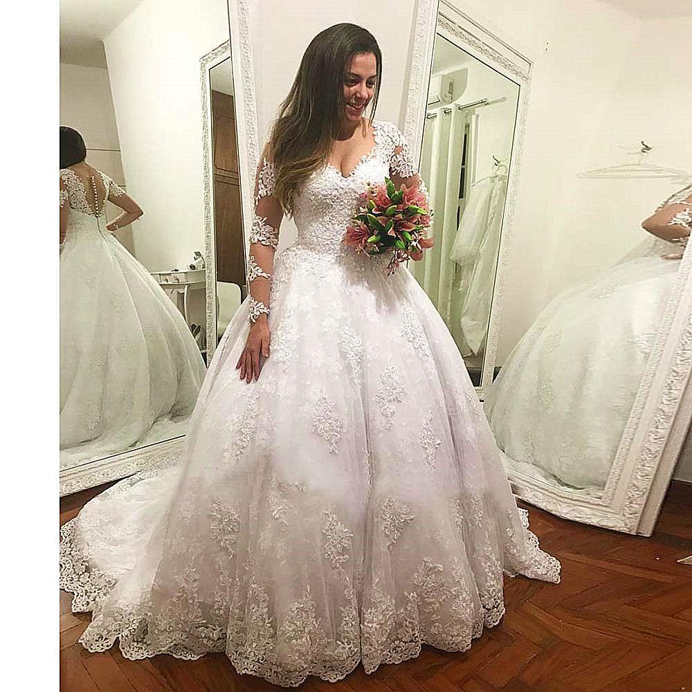 Vestido De Casamento Lange Ärmel Hochzeit Kleid Luxus Ballkleid Brautkleider Nach Maß Spitze Appliques Brautkleider 2019