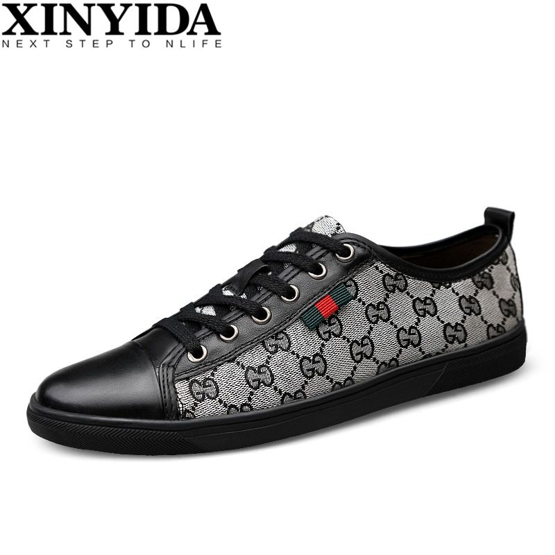 Italian Design Genuine Leather Men Skateboard Shoes Lace Up Breathable Casual <font><b>Sneaker</b></font> Shoes Fashion Men Trainers Shoes Size38-44