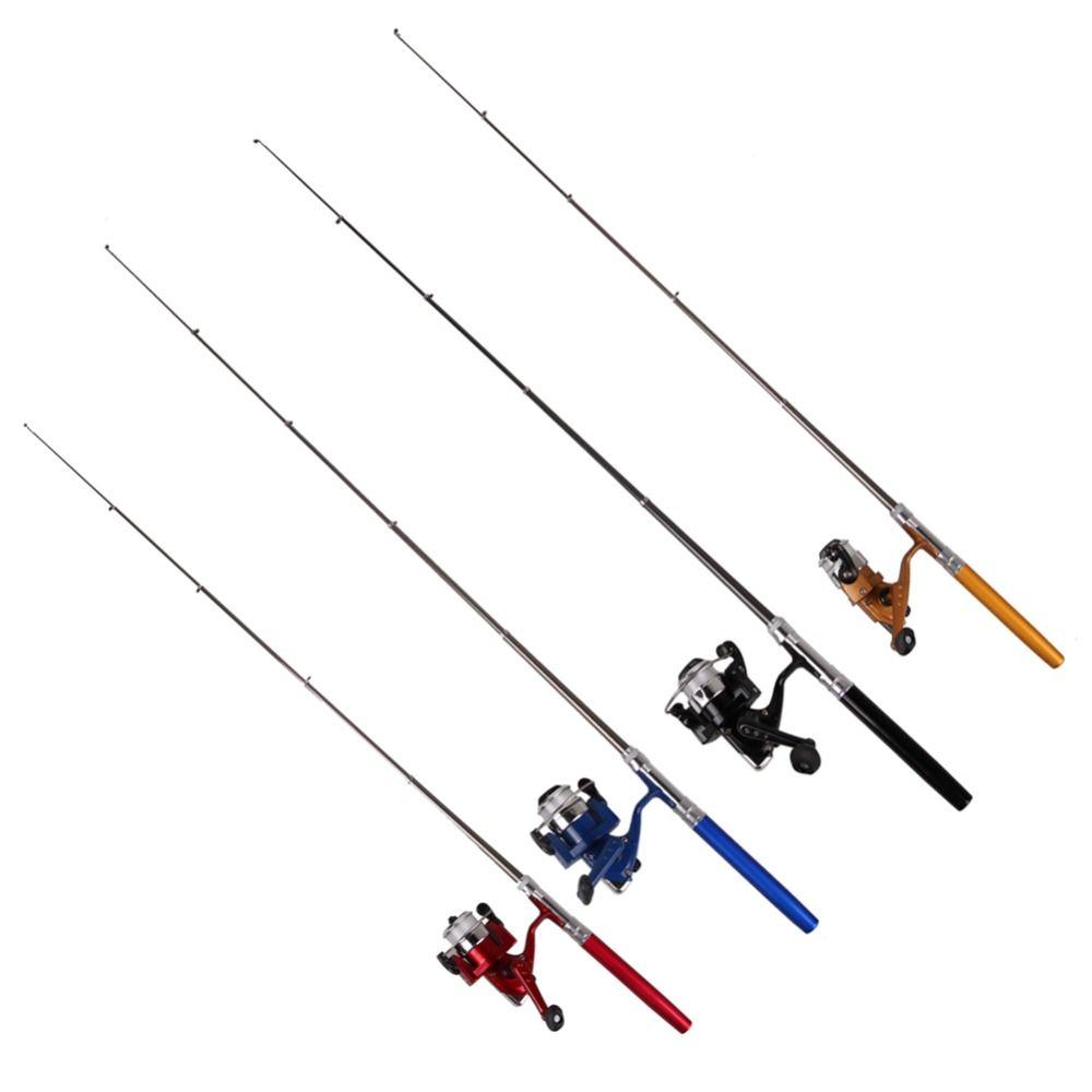 Pocket Pen Shape Mini Portable Camping Travel Fishing Rod Pole Reel Aluminum Alloy + Reel 100M Line