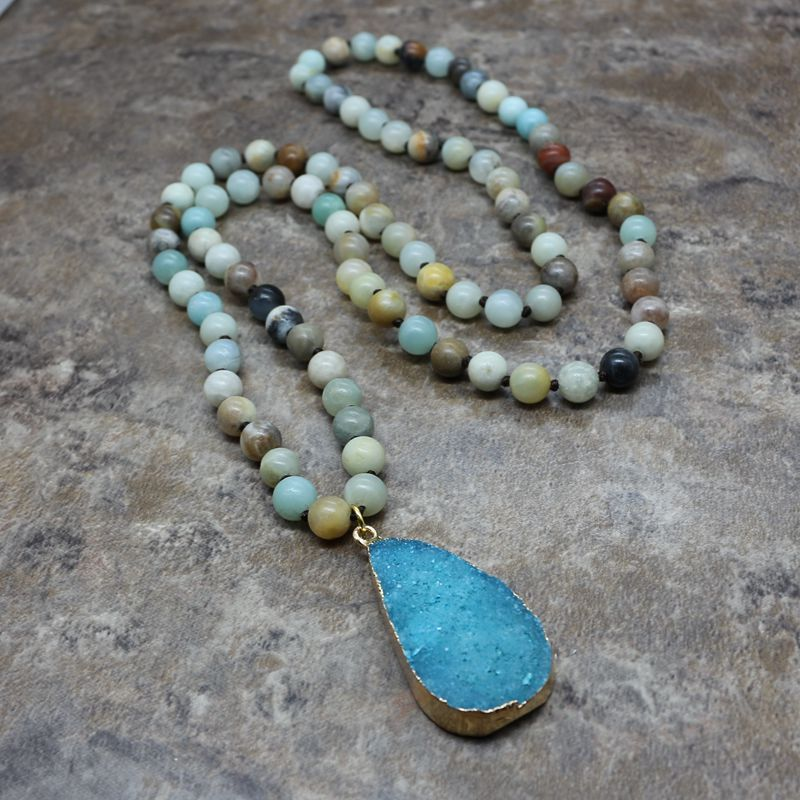 Fashion Bohemian Tribal Jewelry long Knotted Amazonite Natural Druzy Drop Pendant Stone Necklace 00155