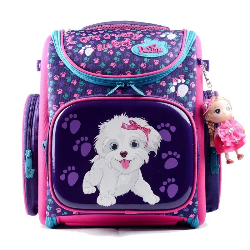 Delune New European Children <font><b>School</b></font> Bag Girls Boys Backpack Cartoon Mochila Infantil Large Capacity Orthopedic Schoolbag