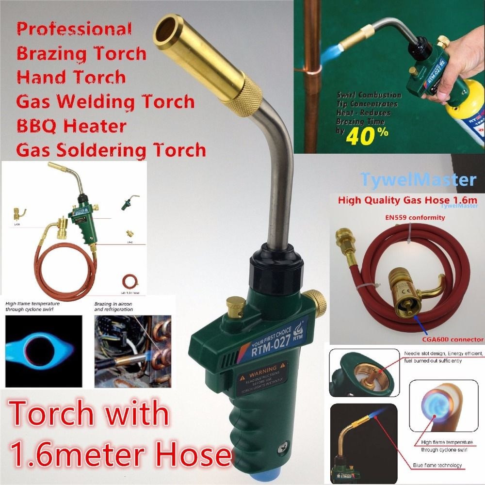 Braze Welding Torch MAPP Propane Gas Torch Self Ignition w Trigger Style CGA600 Heating Solder Burner with 1.5meter hose