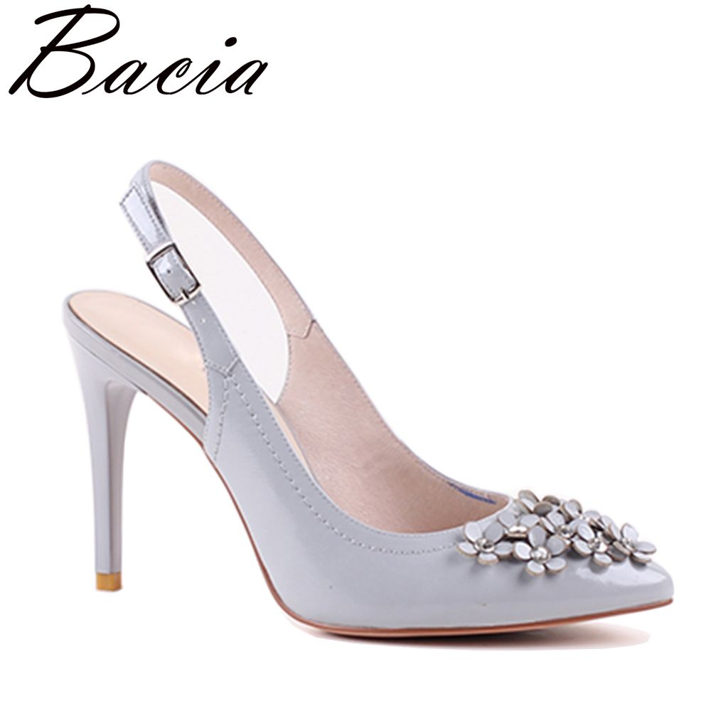 Bacia Women Genuine Leather Sandals Fashion Women Thin Heel Sandals Gril Summer Shoes Ladies Sandals Girls Floral Shoes VXA004