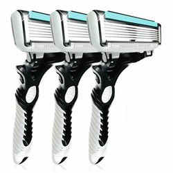 3pcs/lot Mens Razor Face Care Shaving Stainless Steel 6-layer Safety Shaving Razor Blades