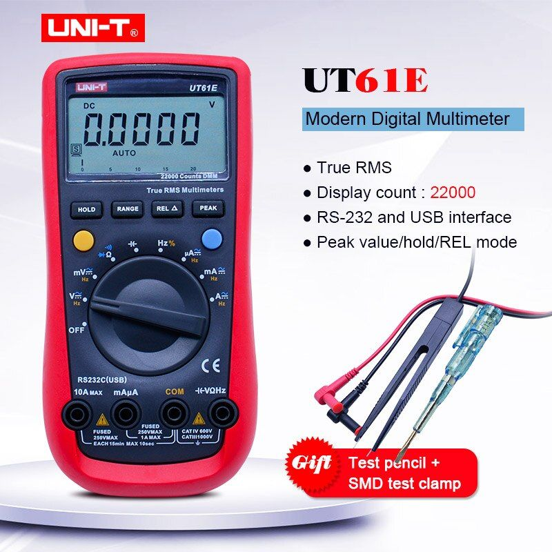 UNI-T UT61E Trus RMS Digital-Multimeter; AC DC volt Ampere Ohm meter; Kapazität Frequenz Diode test; software CD PC Verbinden