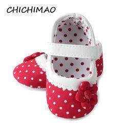 Nuevos zapatos del bebé nacidos lunares princesa con flores algodón suave cuna Infantil Niño suela primer caminante antideslizante