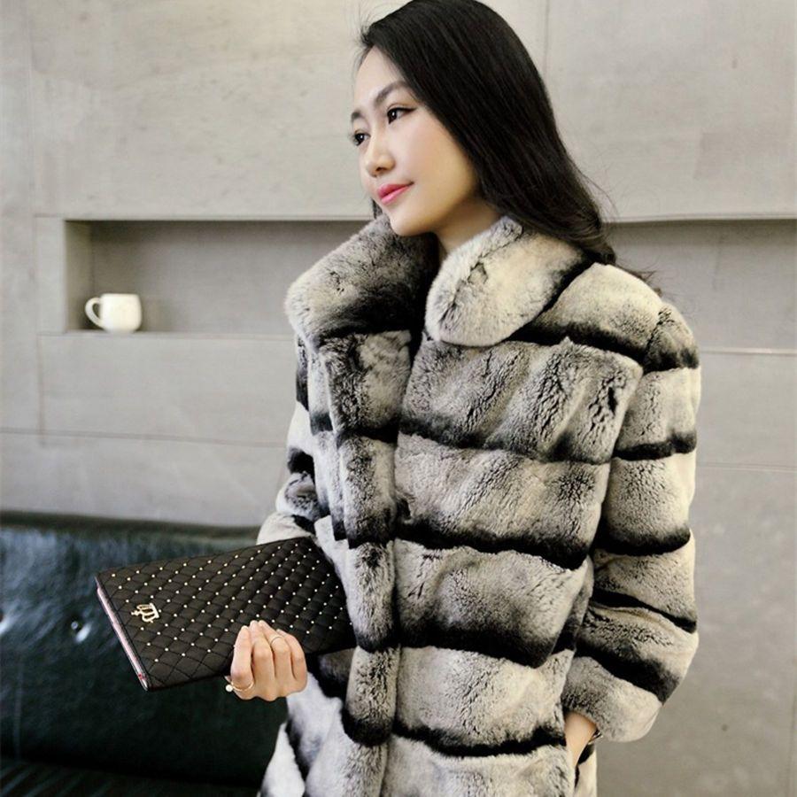 Warmth Really Lexus Rex fur coat Woman chinchilla Fur coat