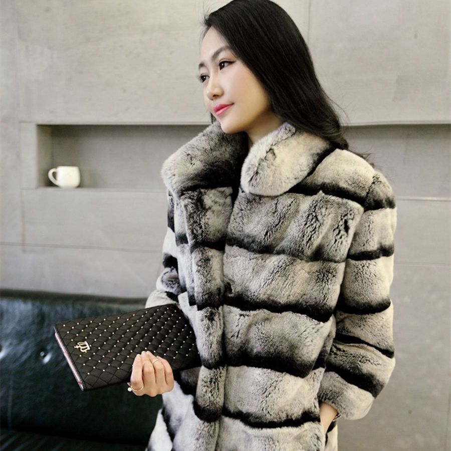 Warmth Really Lexus Rex fur coat Woman chinchilla Fur coat