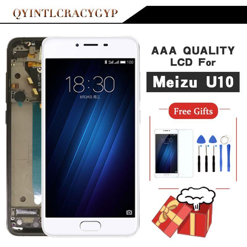 AAA Qualité Pour Meizu U10 Écran Tactile Digitizer + Écran LCD Pour Meizu U10 5.0 pouce Téléphone Portable Avec Cadre Livraison gratuite