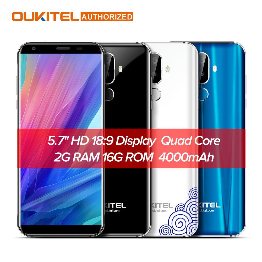 Oukitel K5 4G 5.7 pouces 18:9 Affichage MTK6737T Mobile Téléphone Android 7.0 2G 16G Quad Core 4000 mAh 3 Caméras D'empreintes Digitales Smartphone