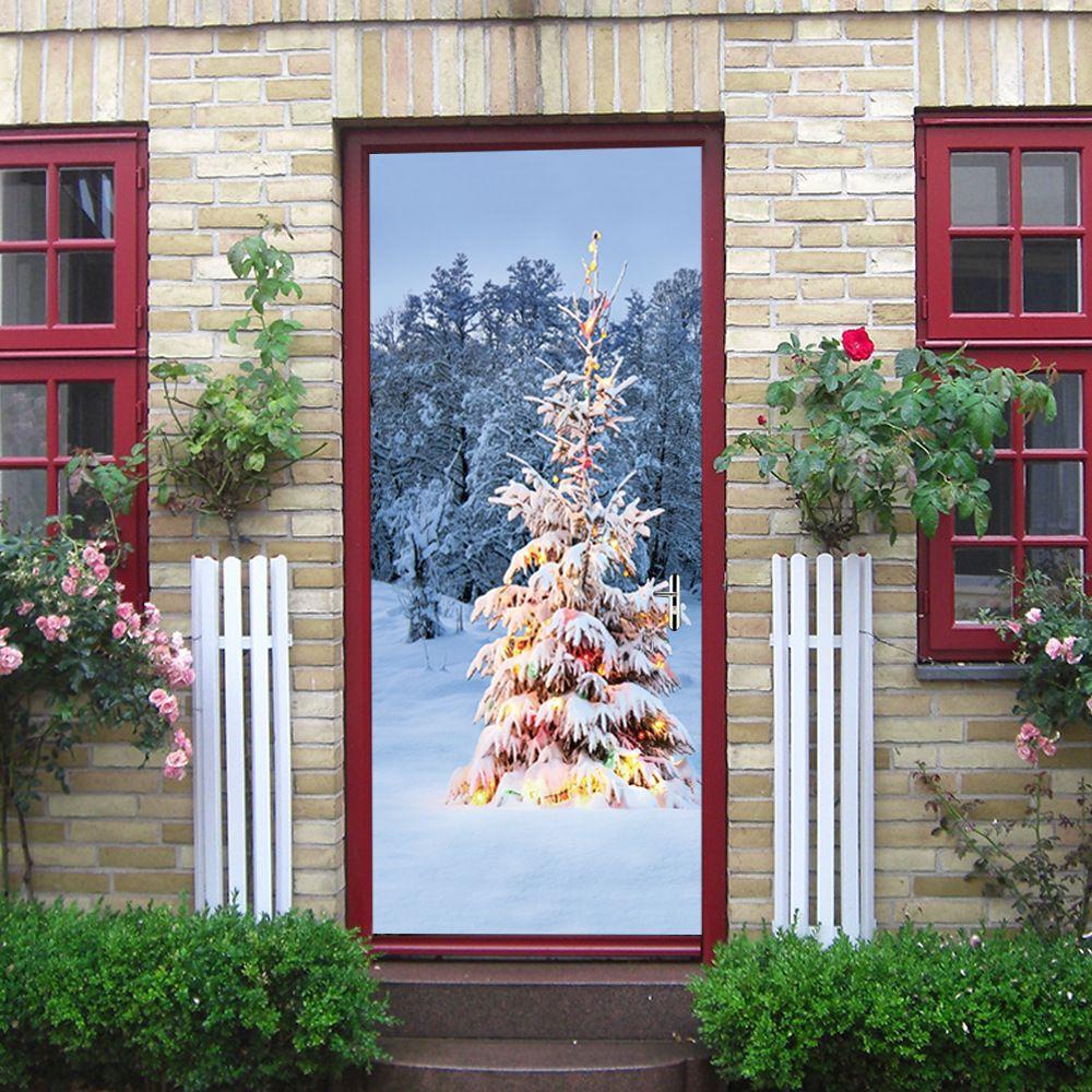 New 2 pcs/set Tree Snow Scene Door Mural Sticker Christmas Decoration 3D DIY Wall Stickers Self-adhesive Imitation Door Poster