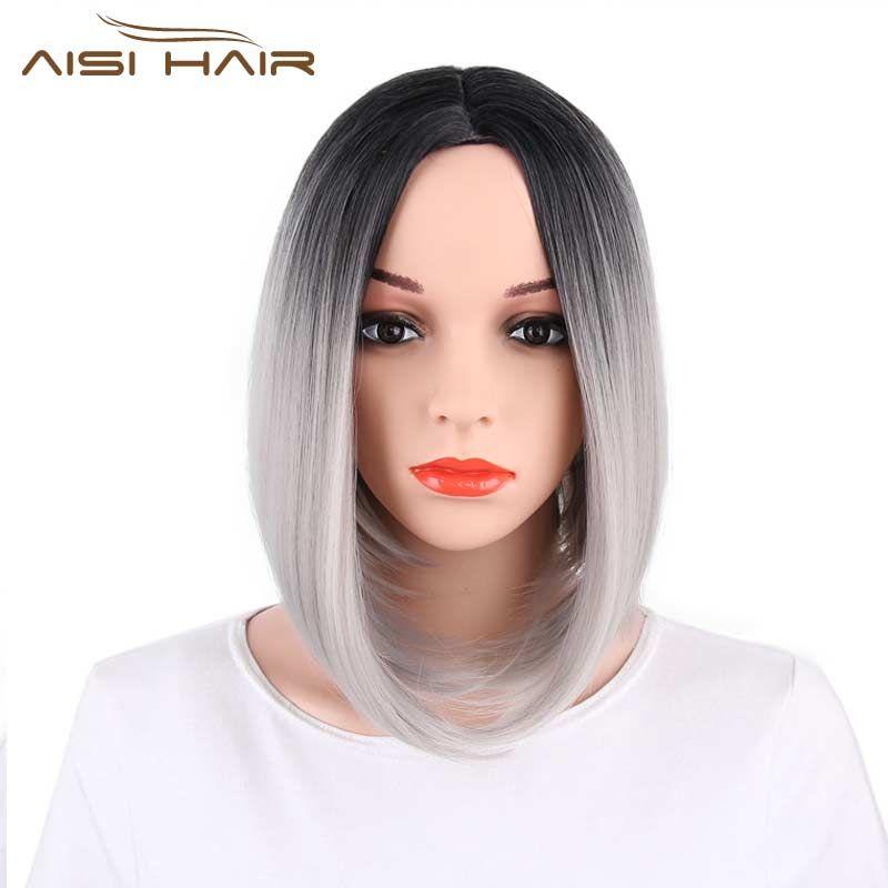 Я в парик Ombre розовый серый красные, синие коричневые Боб Стиль прямые Искусственные парики для черный Для женщин высокой температуры Волок...