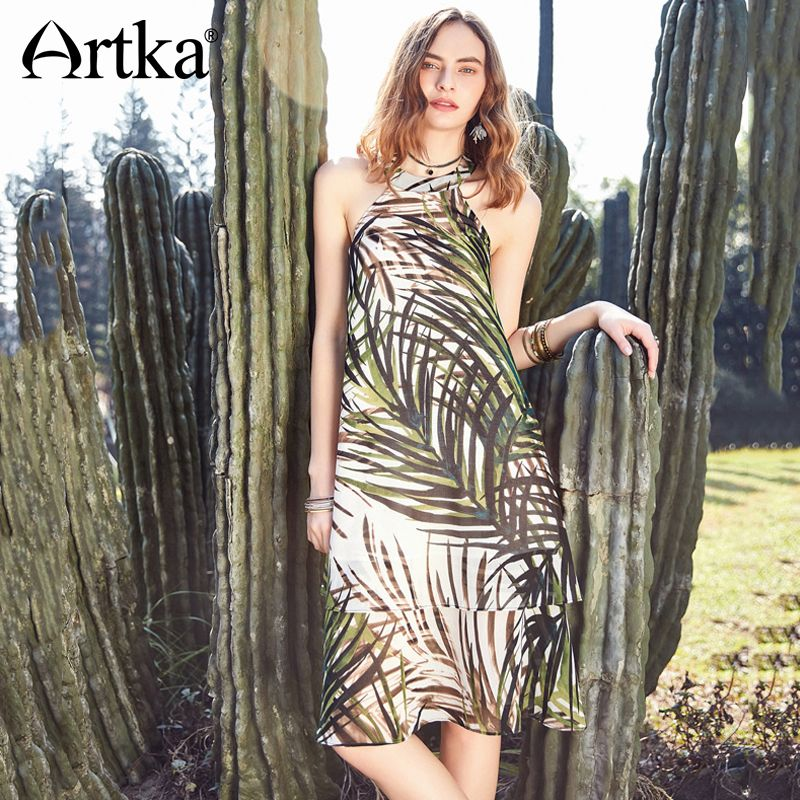 Artka Summer 2018 New Women Vintage Holiday Style A-line Sleeveless Halter Fresh Plant Print Loose Waist Dress LA10889X