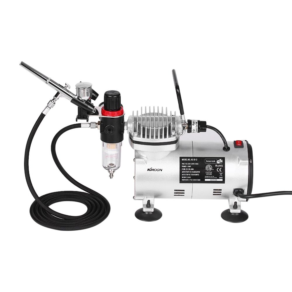 KKmoon Gravity Feed Dual-Action Airbrush Piston Air Compressor Kit with 3 Airbrushes + 6ft Air Hose + Airbrush Holder Set