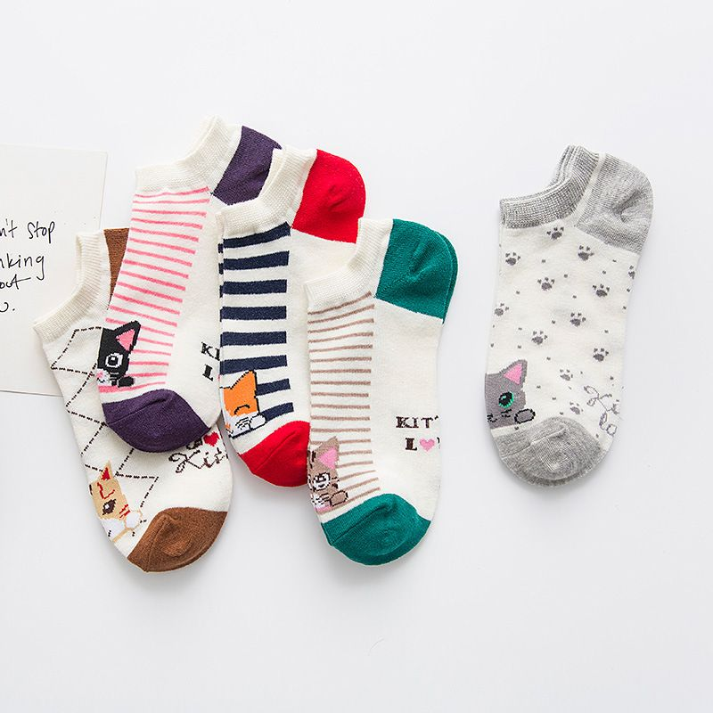 Women's autumn new stripe <font><b>boat</b></font> socks socks Women's cotton short stripe socks factory direct 961