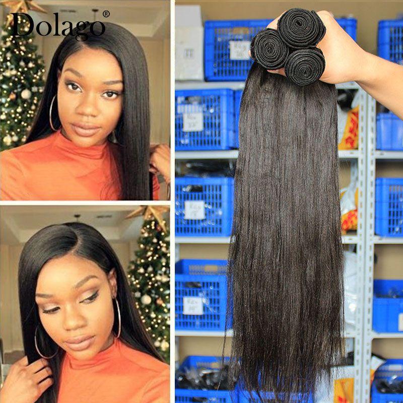 Yaki de Cheveux Humains Cheveux Brésiliens Armure Bundles Lumière Yaki Cheveux Raides Extensions 1 pièce Dolago Vierge Produits de Cheveux Humains