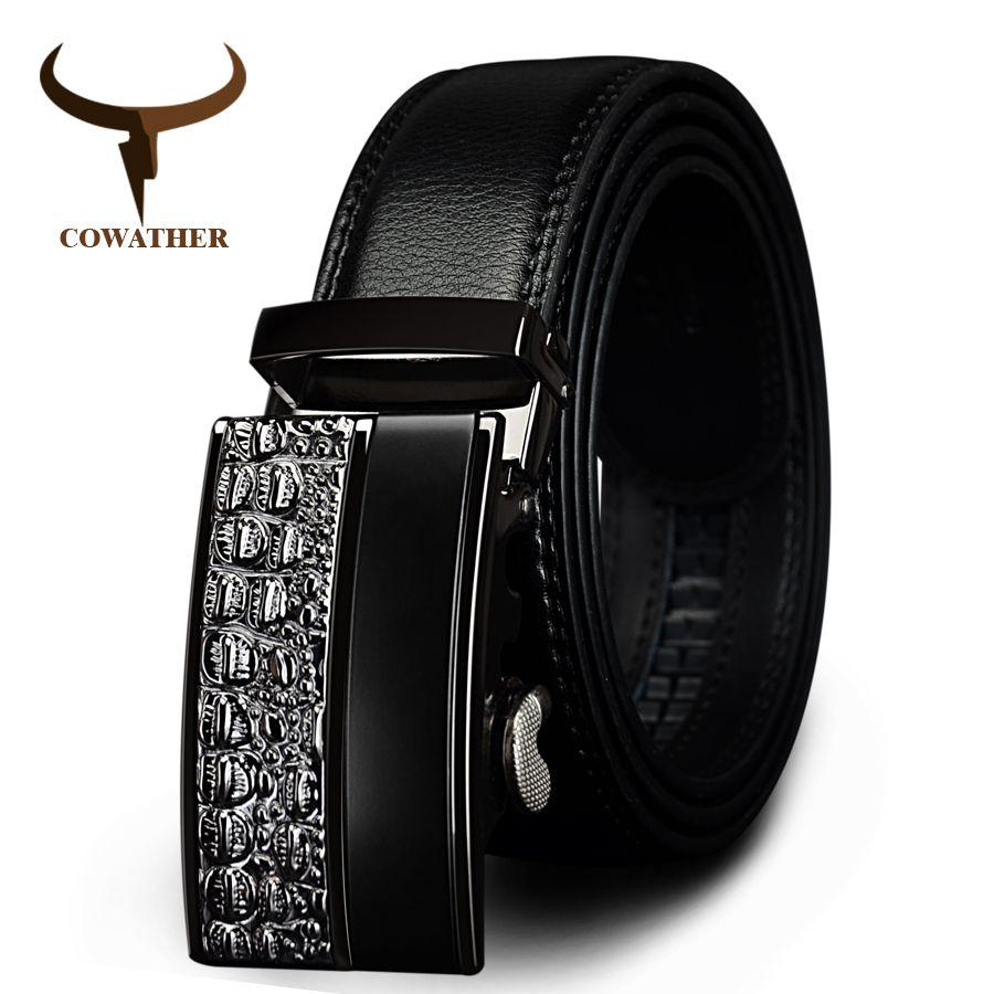 COWATHER hommes fashion100 % Véritable ceintures En Cuir pour hommes de Haute qualité en métal automatique boucle Sangle mâle Jeans cowboy livraison shippi