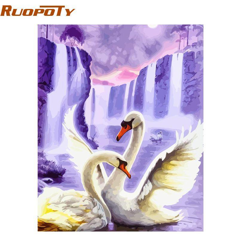 RUOPOTY cadre cygne animaux peinture à la main par numéros mur Art photo acrylique toile peinture pour décoration de mariage livraison directe