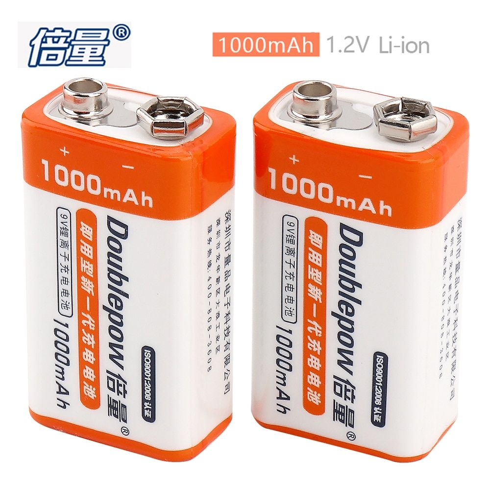 2pcs Doublepow 1000mAh 9V Lithium Battery Li-ion LSD Rechargeable Battery with 1200 Cycle for Multimeter Microphone Alarm