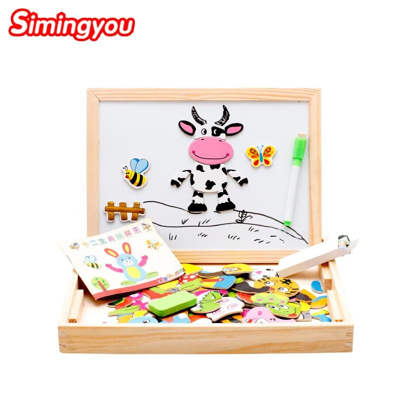 Simingyou Montessori Wooden Puzzle 30*23*3cm Children Magnetic Educational Toy 12 Chinese Zodiac MGW24 DropShipping