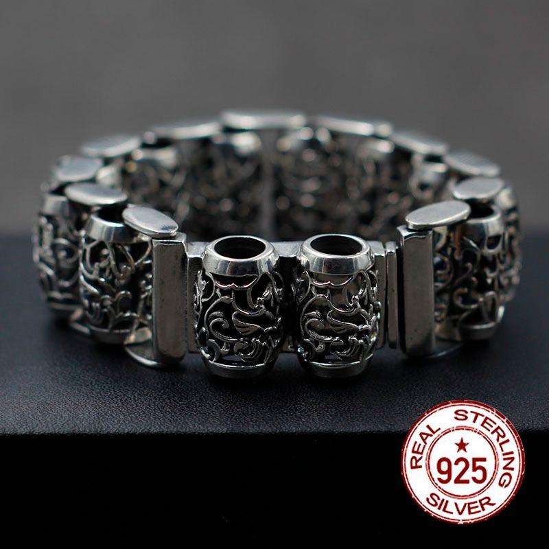 925 sterling argent bracelet Haut de gamme vintage motif circulaire bracelet punk style Hommes et femmes marée modèle Cadeau votre amour r