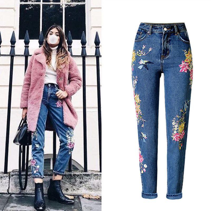 2017, Новая мода Женская одежда прямые длинные джинсы Брюки 3D цветы Вышивка Высокая талия Дамы Зауженные Джинсы Леггинсы Мотобрюки