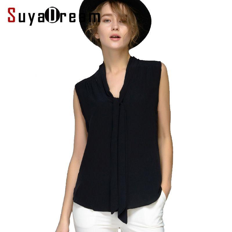 Femmes soie blouse 100% réel soie blouse Bow sans manches solide chemise femmes en mousseline de soie blouse automne été 2018 nouveau