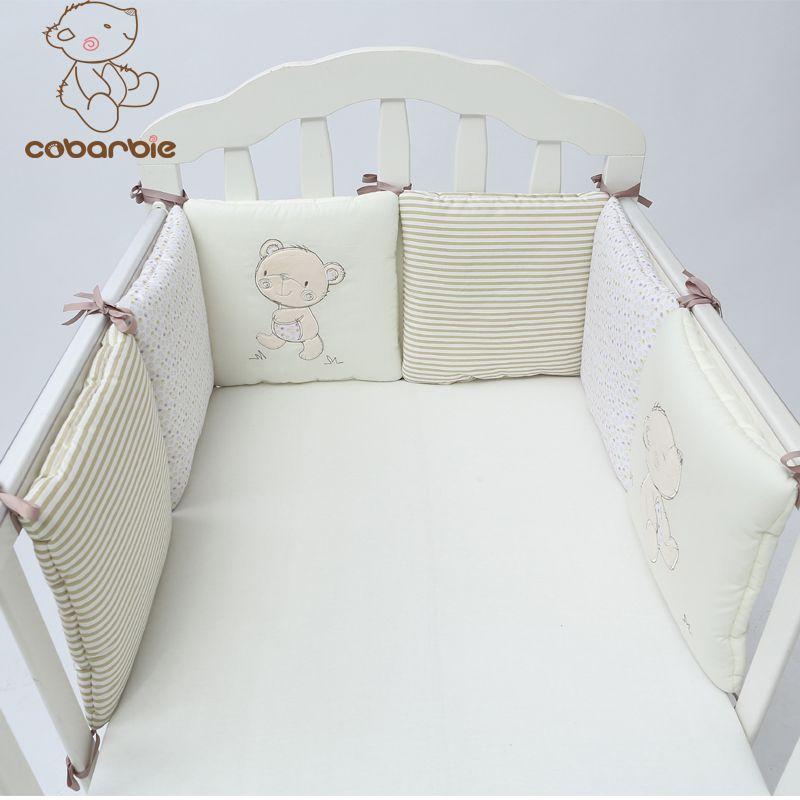 1-14 шт./лот детская кроватка бампер кровать Протектор Детские хлопковые кроватка детская постельные принадлежности плюшевый медведь бампер...