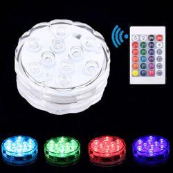 Nueva Piscina Luz Decoración de vacaciones de luz LED sumergible multicolor impermeable luz RGB para la boda pecera