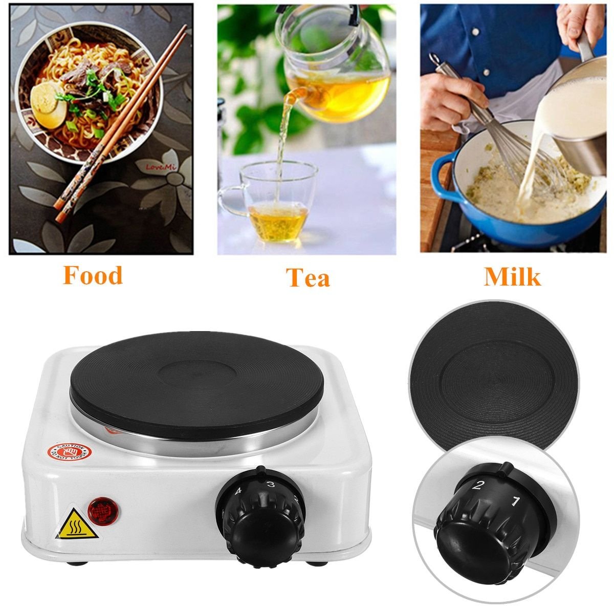 1000W Electric Burner Stove 110VUS/220V EU Quick Sustained Heat Eco-friendly Hot Plate Portable Kitchen Cooker Coffee Pot Heater